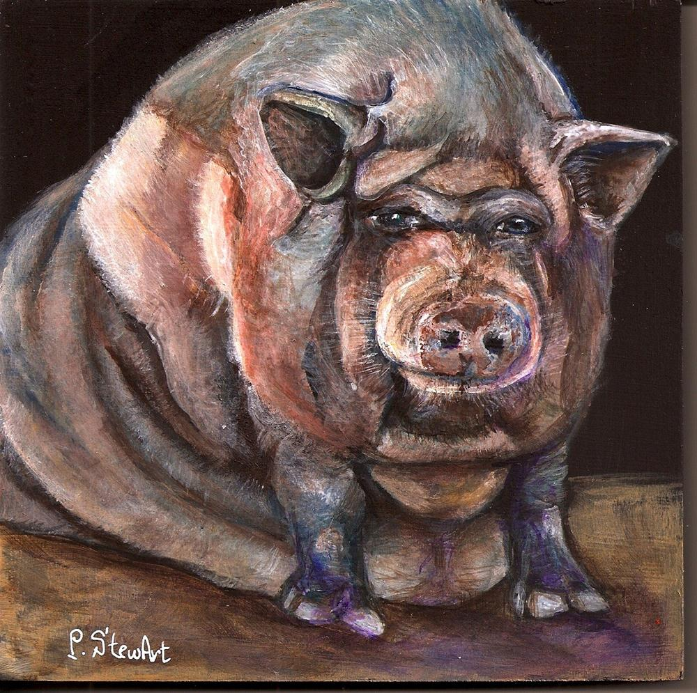 """6x6 Pot Bellied Pig Painting, Pet Portrait, Raspy #2, a big piggy"" original fine art by Penny Lee StewArt"