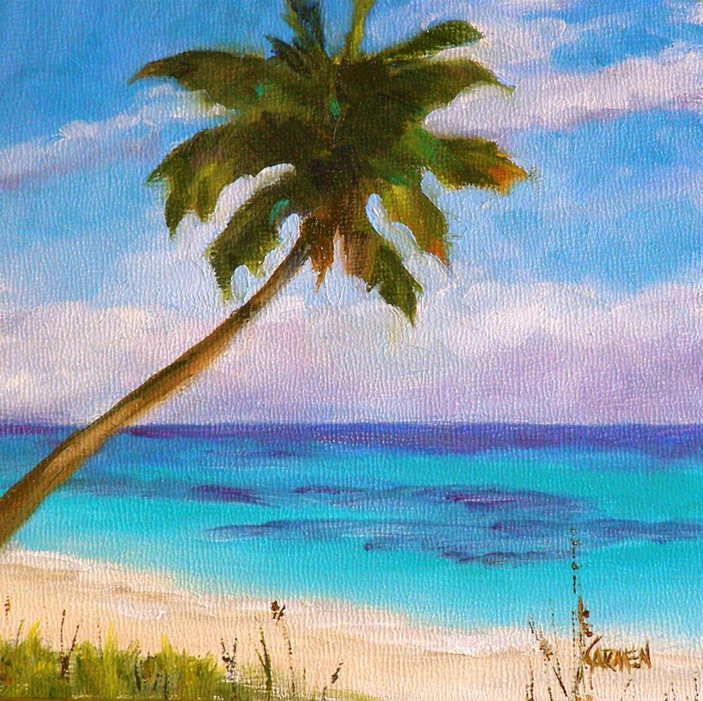 """On Da Beach, 6x6 Oil on Canvas Board"" original fine art by Carmen Beecher"