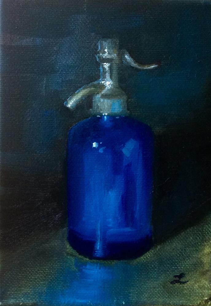 """Blue bottle"" original fine art by Lori Jacobs - Farist"