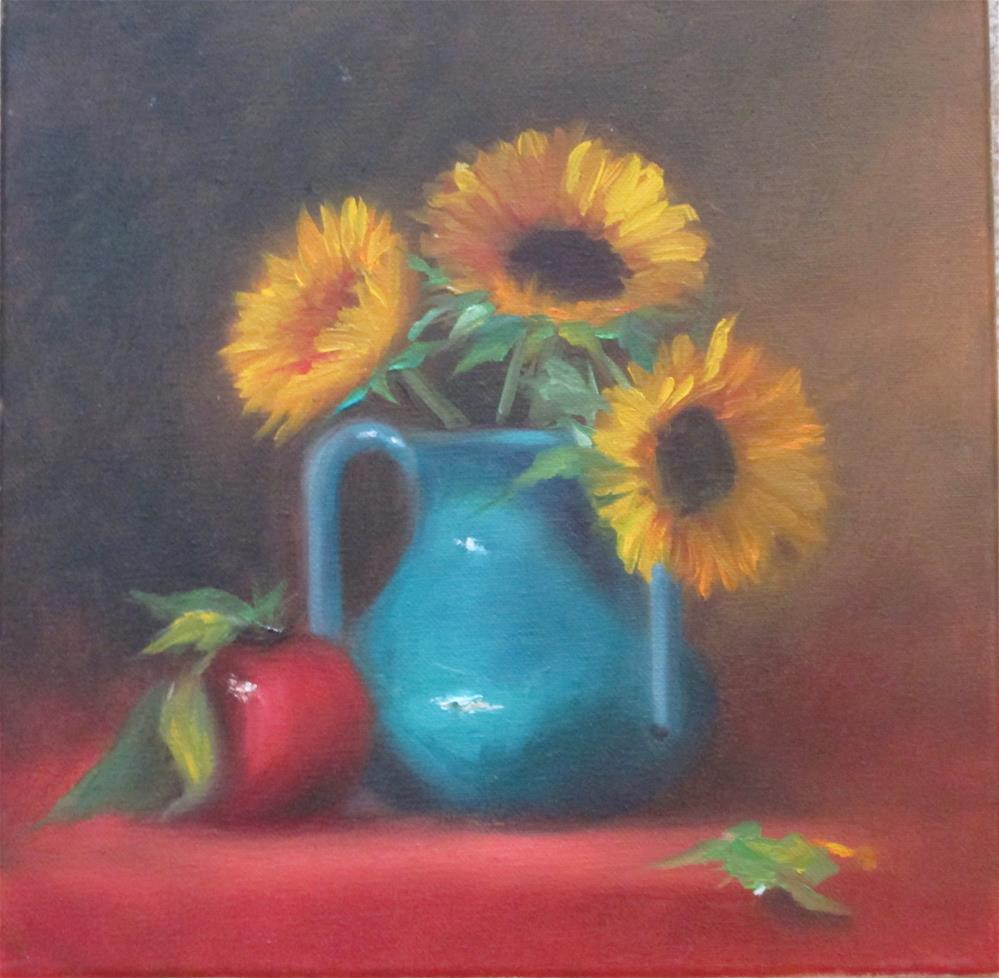 """Sunflowers and Blue"" original fine art by Barbara Wagner"