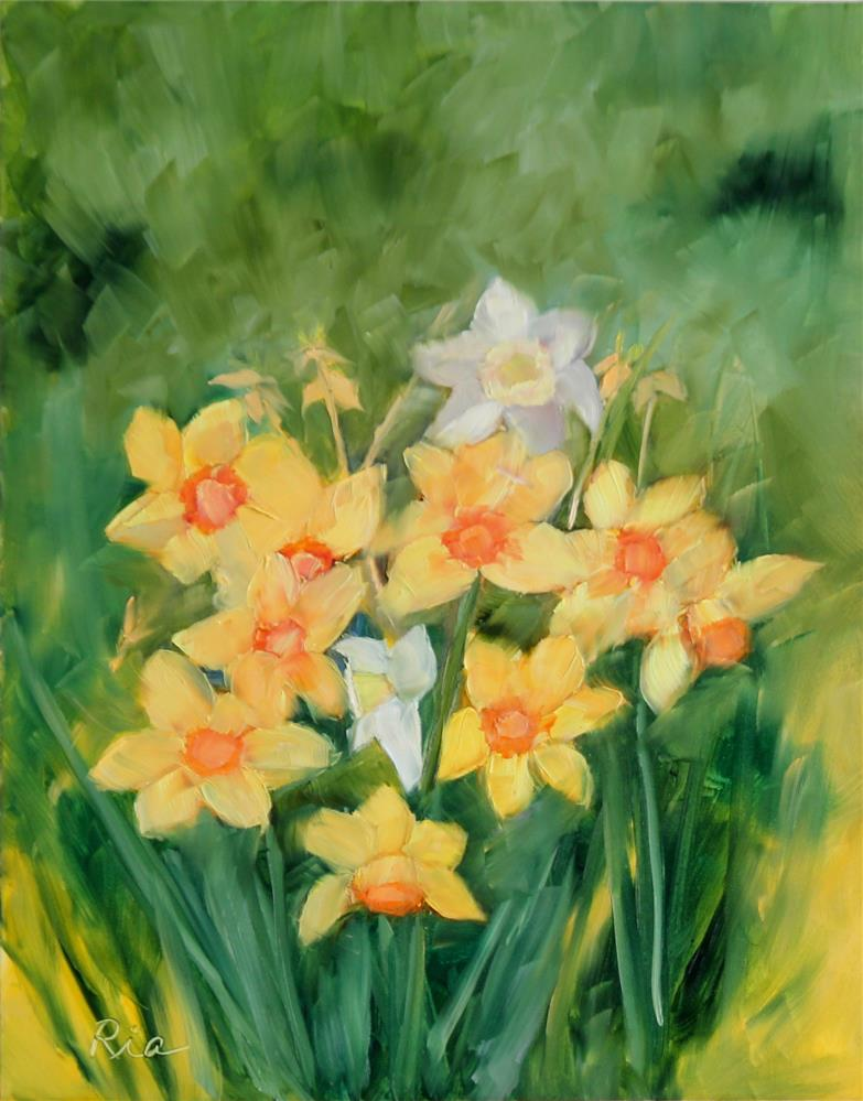 """Daffy Dils"" original fine art by Maria Reed"
