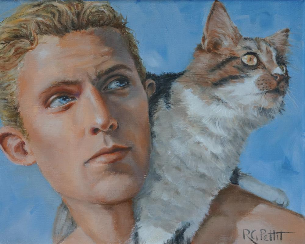 """Man with His Cat"" original fine art by Rhea  Groepper Pettit"