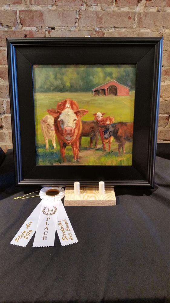 """Curious Calf-en plein air"" original fine art by Veronica Brown"