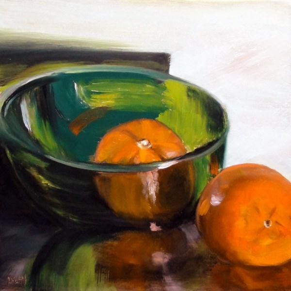 """Green Glass Bowl With Two Cutie Clementines"" original fine art by Dalan Wells"