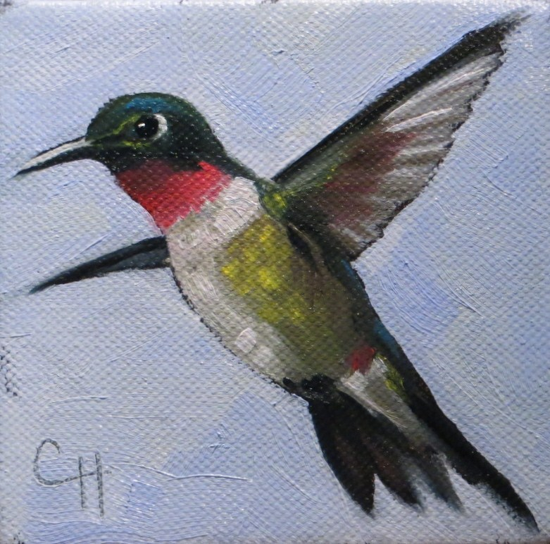 """Ruby-Throated Hummingbird"" original fine art by Claire Henning"
