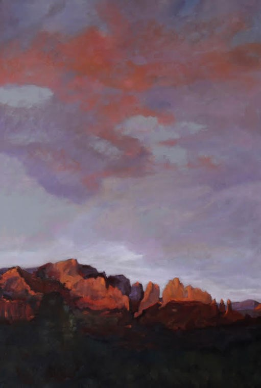 """Colorado Landscape Oil Painting RED ROCK GLOW AT SUNSET by Colorado Landscape Artist Susan Fowler"" original fine art by Susan Fowler"