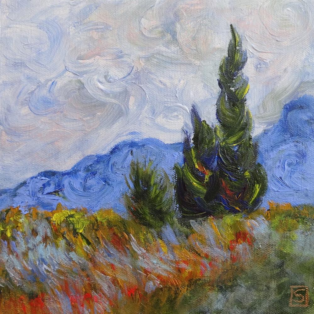 """6044 - Two Trees after Van Gogh"" original fine art by Sea Dean"