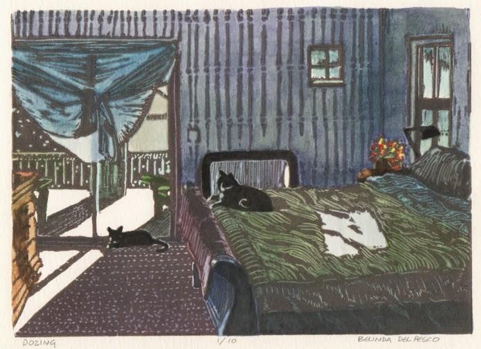 """Linocut #printmaking: Dozing"" original fine art by Belinda Del Pesco"