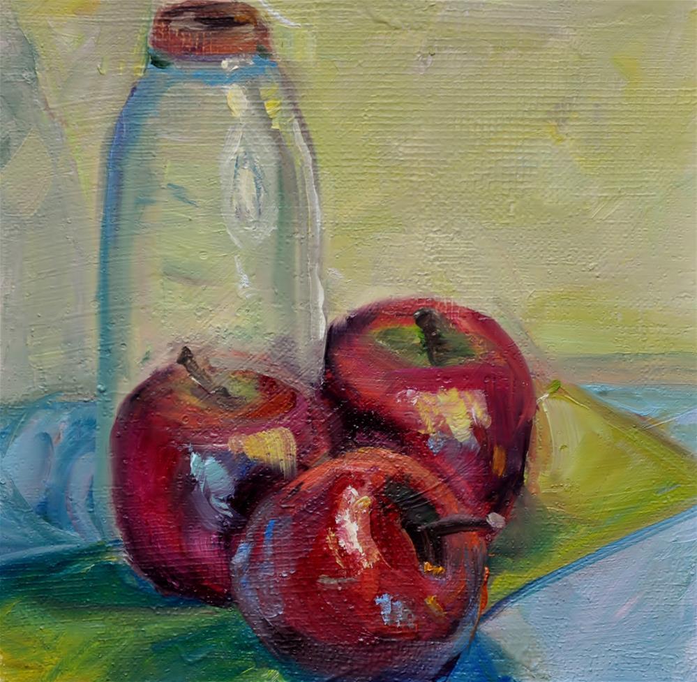 """Apple w/ jar"" original fine art by Catherine Crookston"
