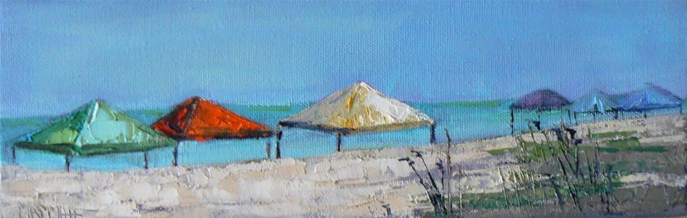 """Daily Painter, All In A Row 4x12 Original Oil"" original fine art by Carol Schiff"