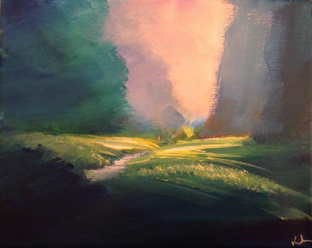 """Through Its Quieter Vales"" original fine art by David Kuhn"