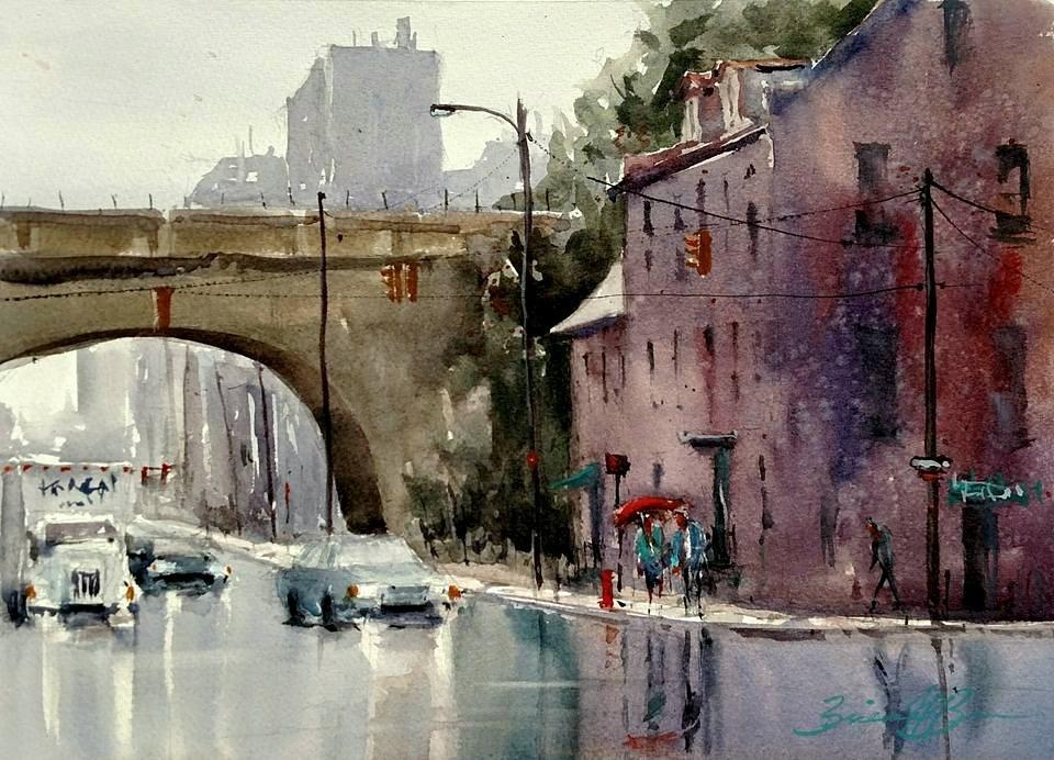 """""""Rain on Front Street"""" original fine art by Brienne M Brown"""