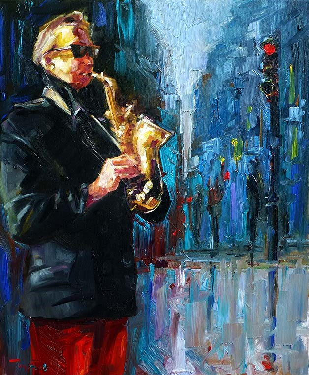 """Straßenmusiker"" original fine art by Jurij Frey"