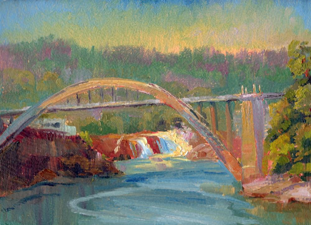 """FALLS AND BRIDGE"" original fine art by Karen E Lewis"