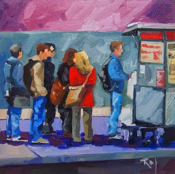 """No 758 Lunch Line"" original fine art by Robin J Mitchell"