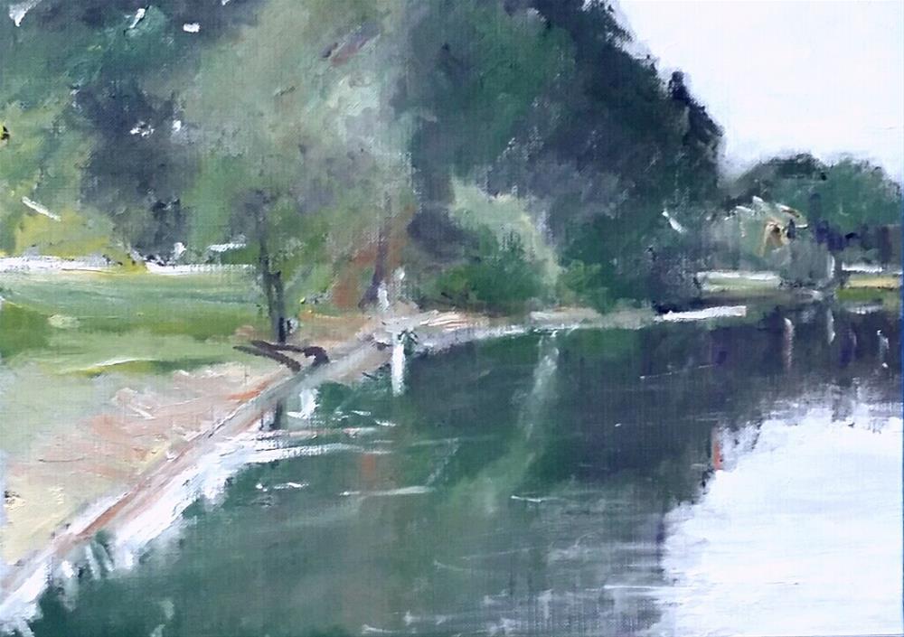 """The College lake (9 x 12 Oil on canvas sheet - no frame)"" original fine art by Ramon DelRosario"