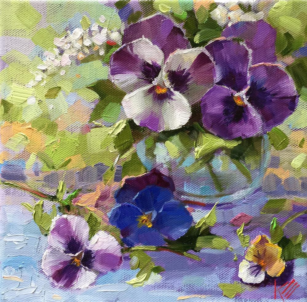 """Peaceful Pansies"" original fine art by Krista Eaton"