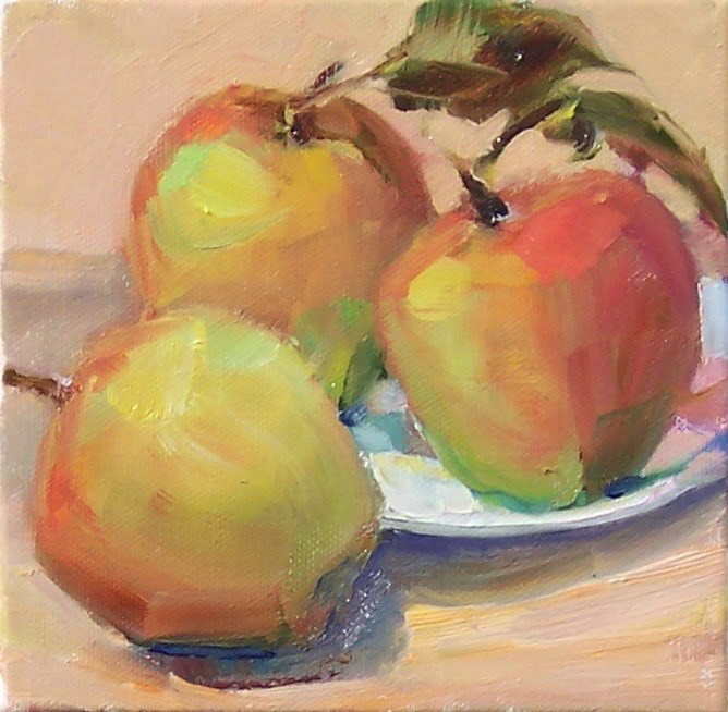 """Fresh Picked Apples,still life,oil on canvas,6x6,price$200"" original fine art by Joy Olney"