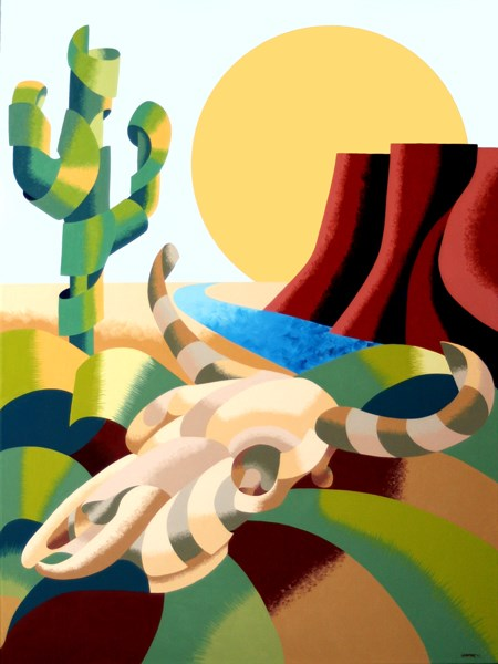 """Mark Webster - Abstract Futurist Soutwestern Desert Landscape Oil Painting"" original fine art by Mark Webster"