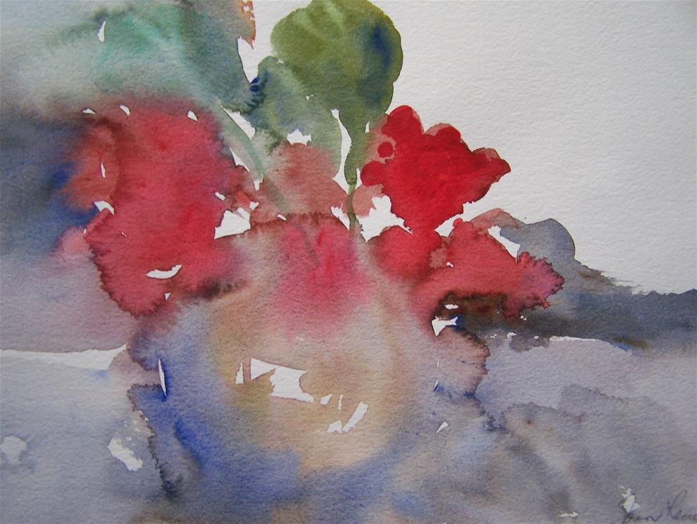 """Red Floral"" original fine art by Joan Reive"