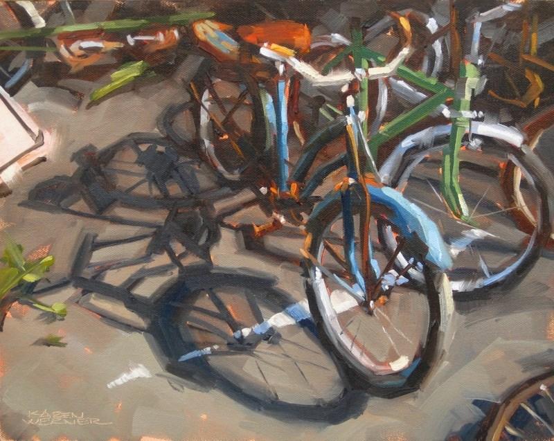 """""""Beater Bikes"""" original fine art by Karen Werner"""