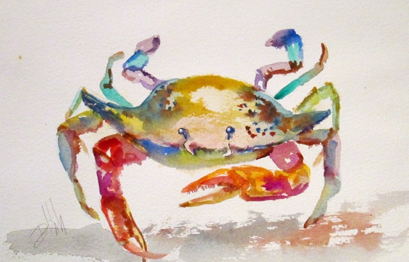 """Old Crab"" original fine art by Delilah Smith"