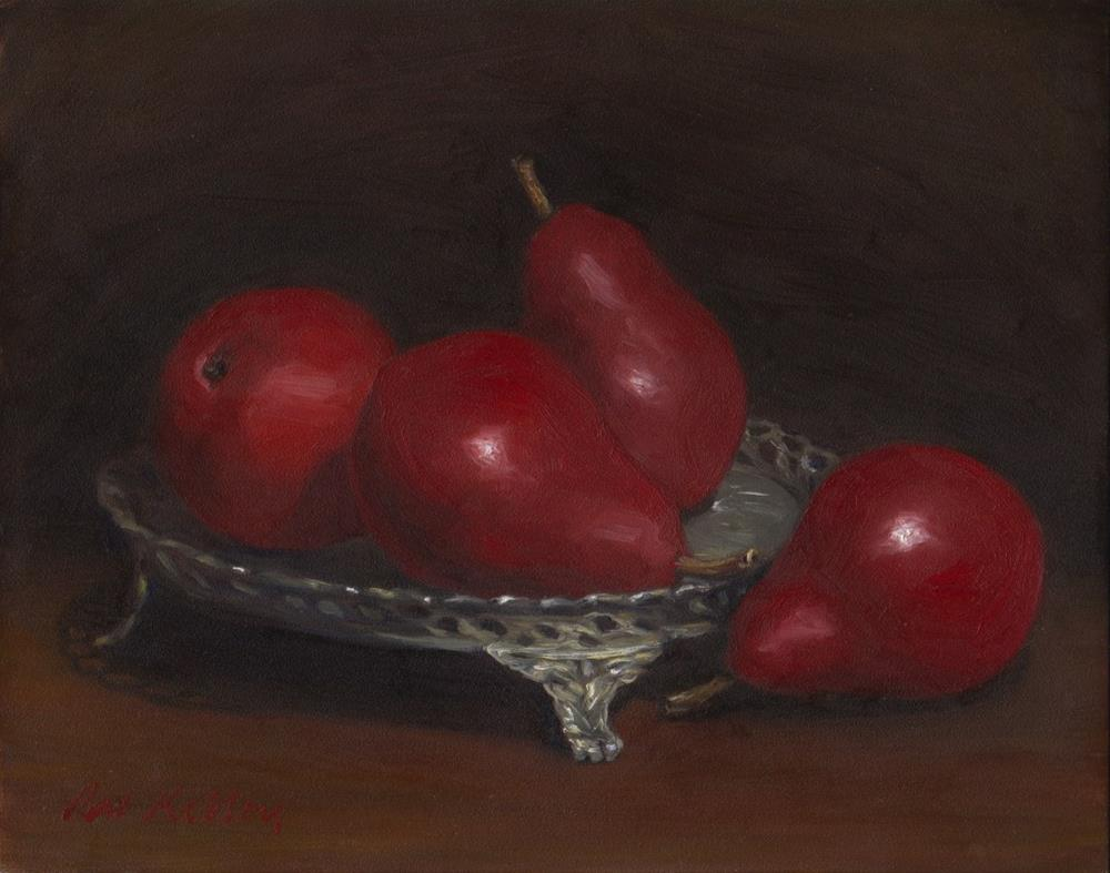 """Red Pears on a Silver Tray"" original fine art by Pat Kelley"
