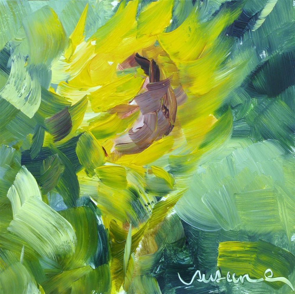 """Moonlight  Sunflower"" original fine art by Susan Elizabeth Jones"