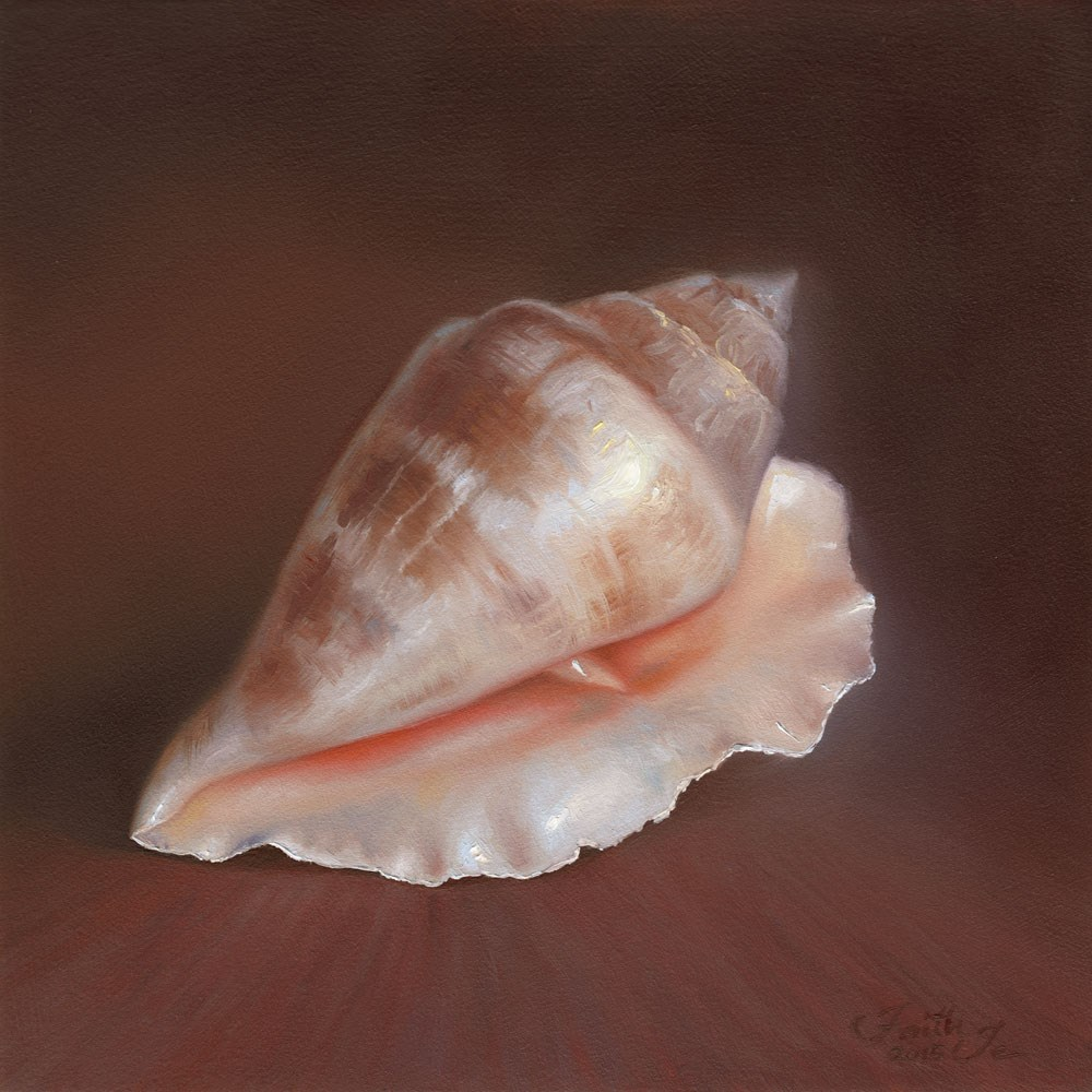 """Conch Shell No. 1"" original fine art by Faith Te"
