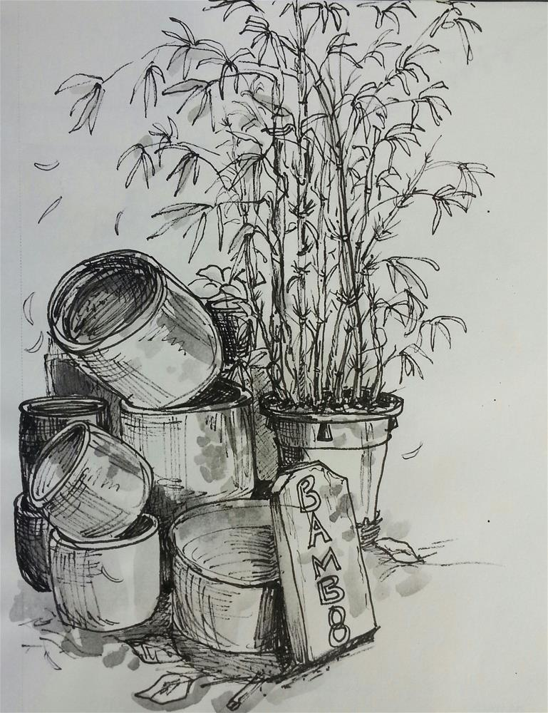"""Bamboo Stack"" original fine art by Geri Graley"