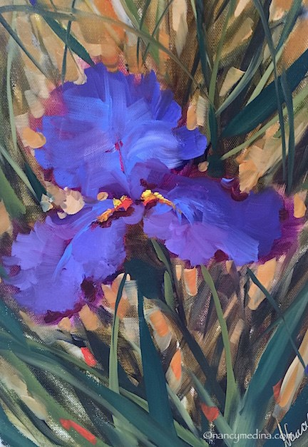 """Something Colorful This Way Comes....A Big Announcement in Flower Mound Studio"" original fine art by Nancy Medina"