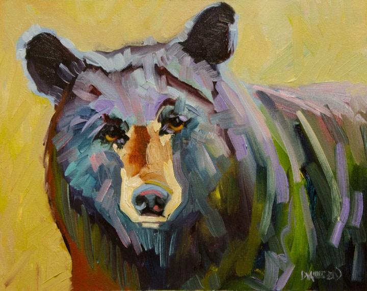 """ARTOUTWEST BLACK BEAR OIL PAINTING DIANE WHITEHEAD FINE ART"" original fine art by Diane Whitehead"
