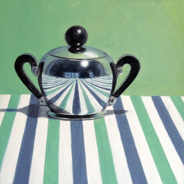 """Deco Sugarbowl on Striped Cloth"" original fine art by Nance Danforth"