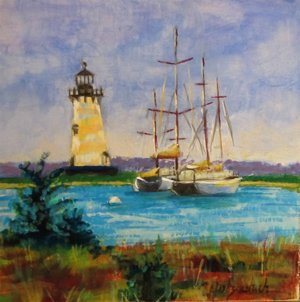 """Light House  6x6 oil"" original fine art by Christine Holzschuh"