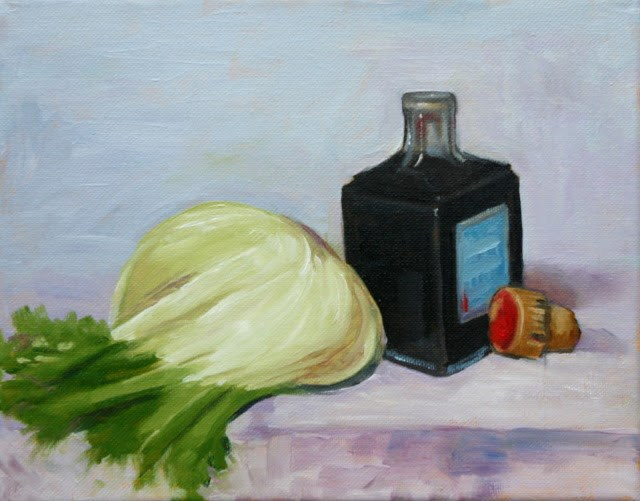 """Fennel and vinegar bottle"" original fine art by Hilary J. England"