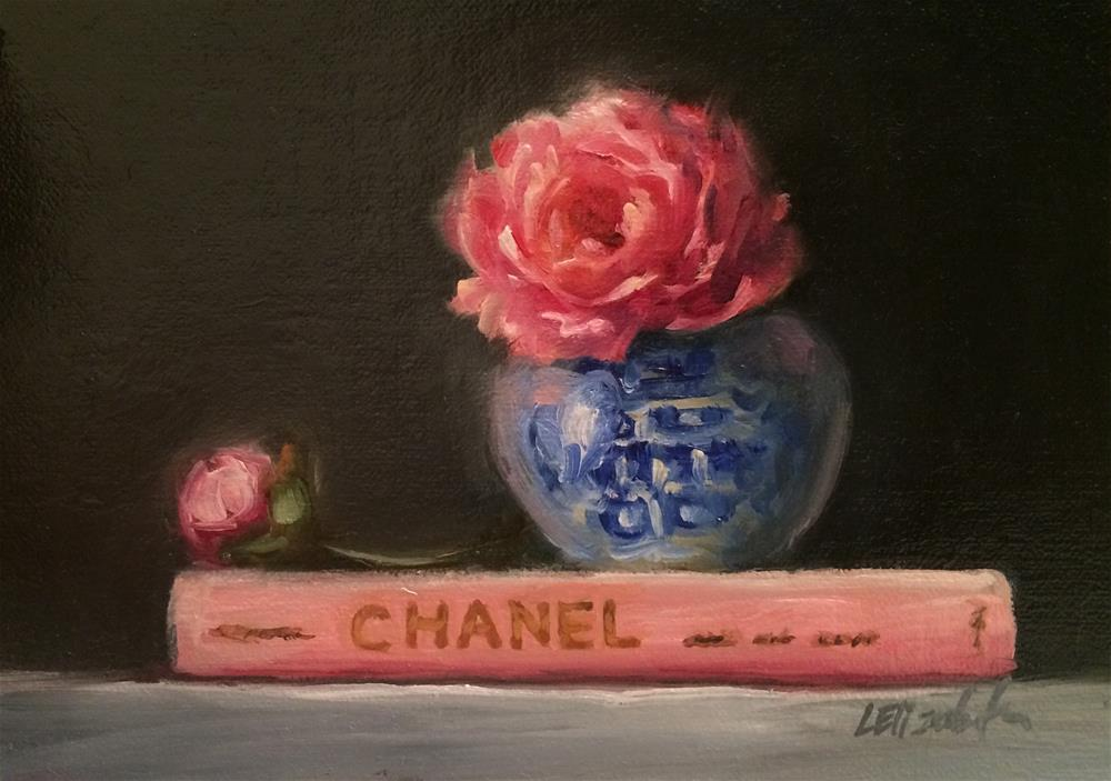 """Chanel Book with Pink Peonies, 5x 7 Oil on linen Panel"" original fine art by Carolina Elizabeth"