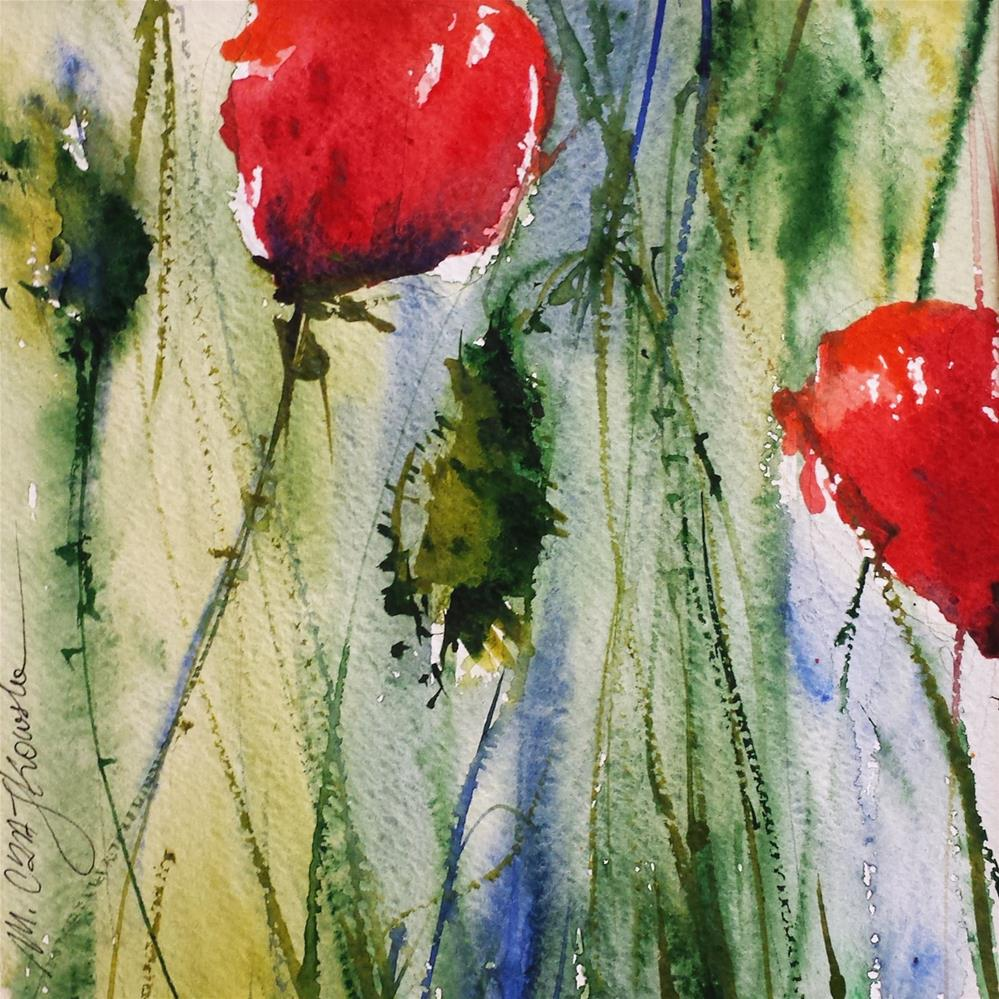 """Poppies 4"" original fine art by Marlena Czajkowska"