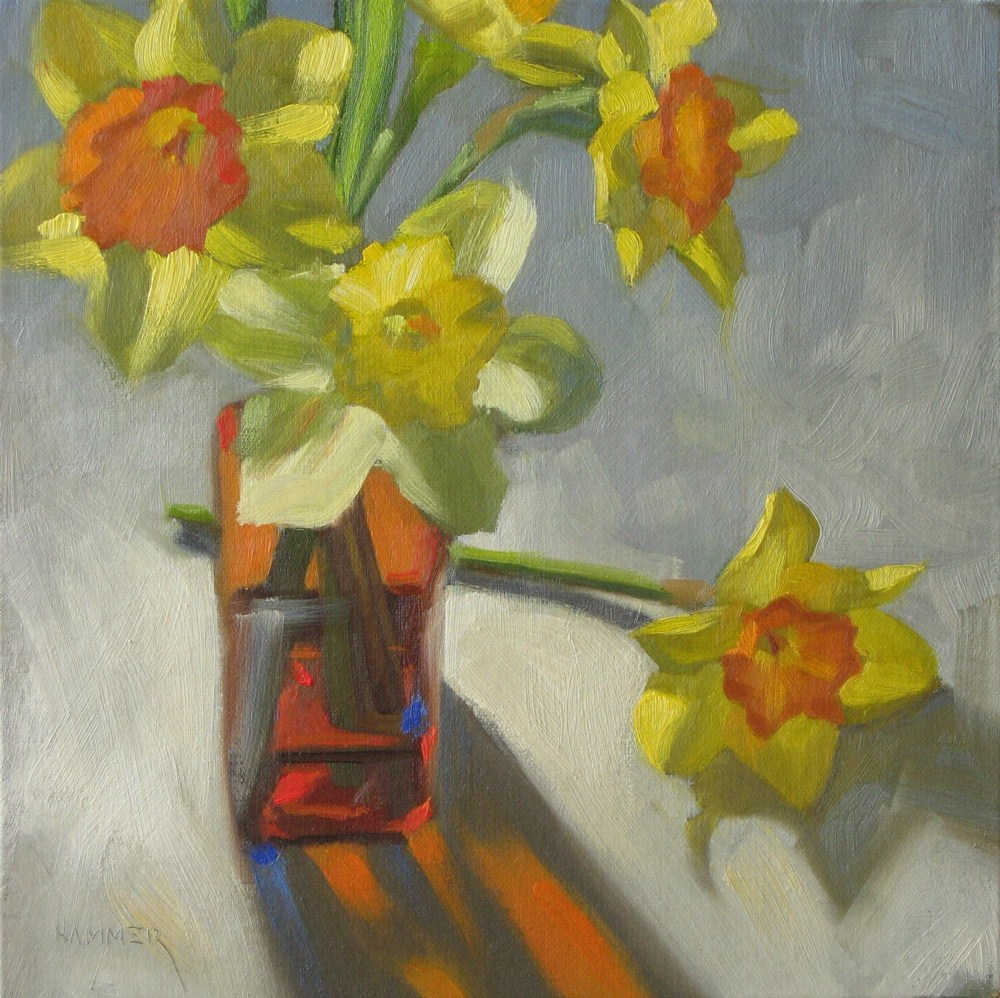 """Amber vase 8x8 oil"" original fine art by Claudia Hammer"