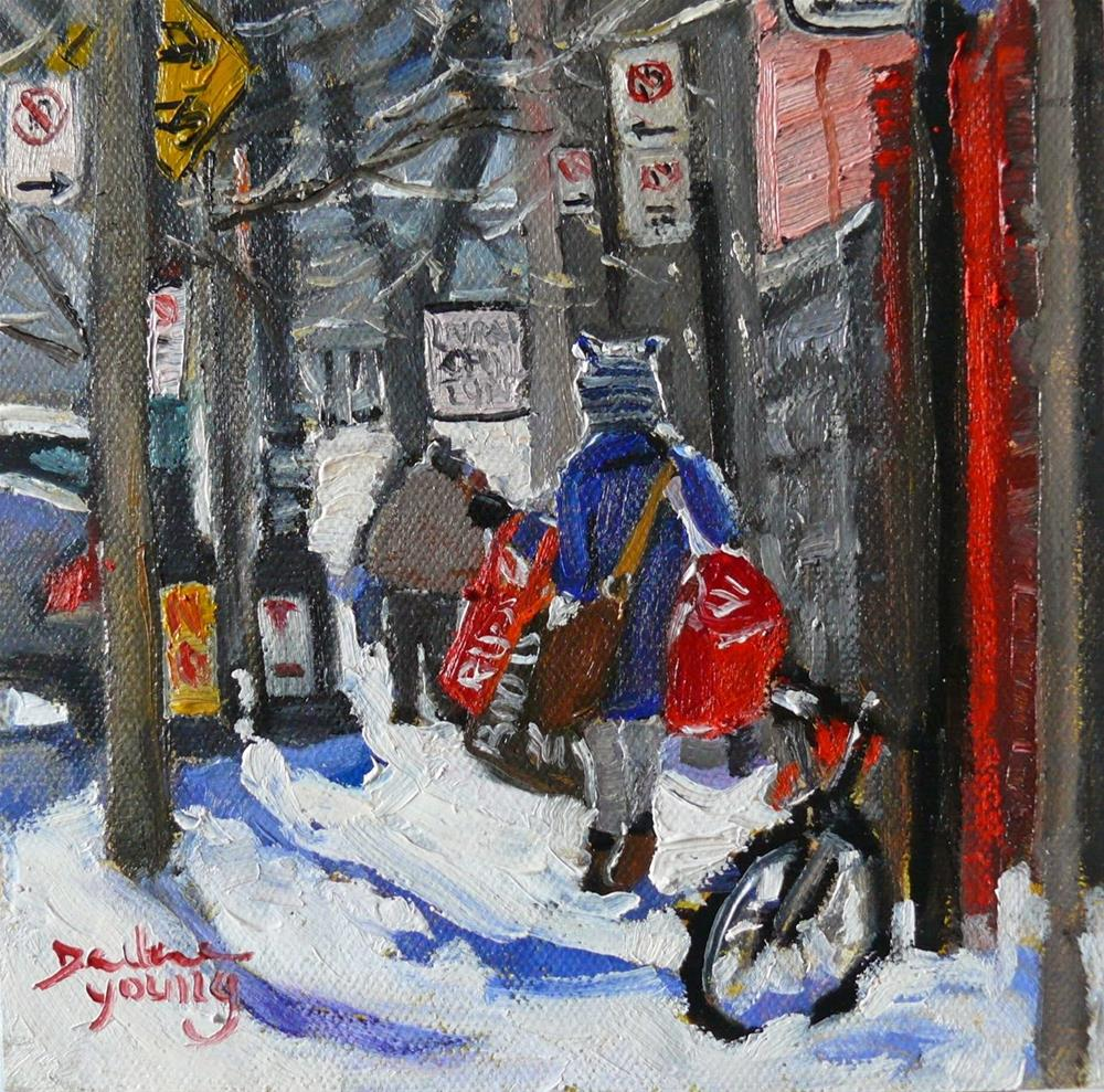 """819 Montreal Winter, McGill Laundry Day, 6x6"" original fine art by Darlene Young"