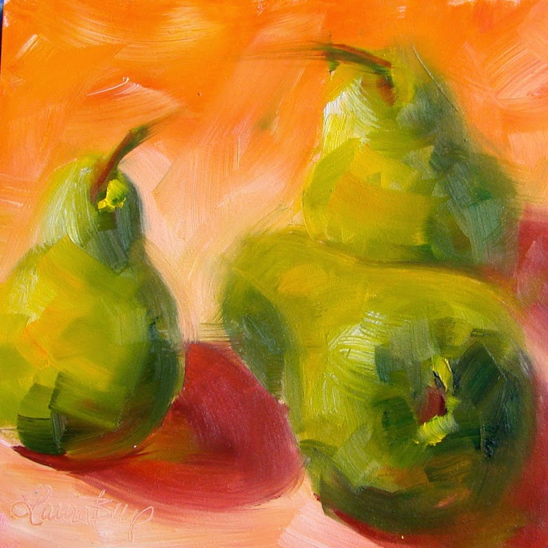 """Three Pears"" original fine art by Laura  Buxo"