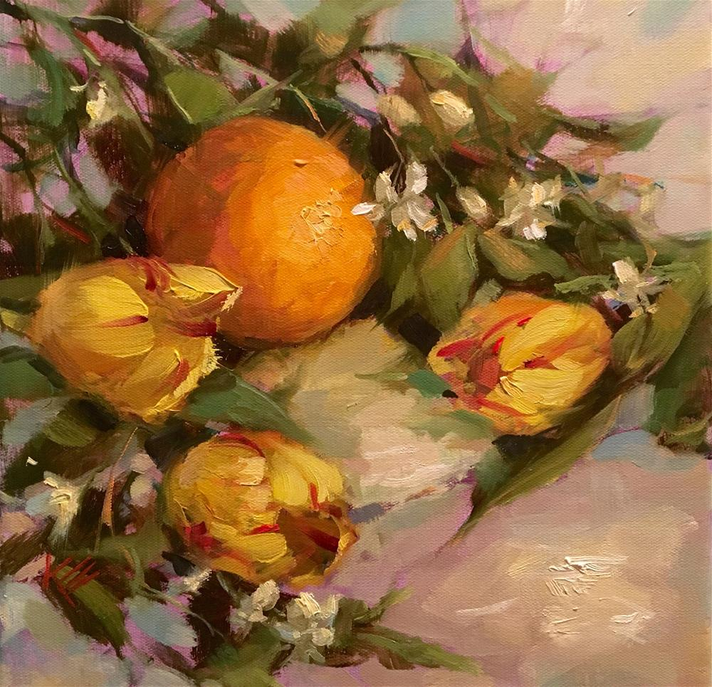 """Tulips & Oranges"" original fine art by Krista Eaton"
