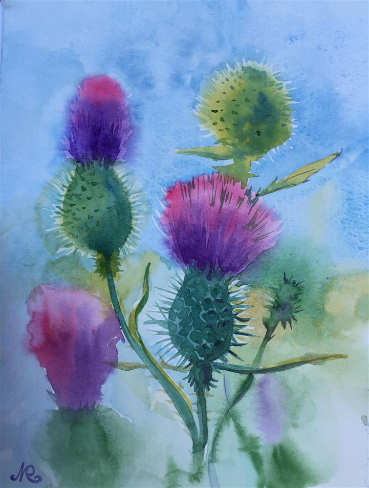 """Thistle"" original fine art by Natasha Ramras"