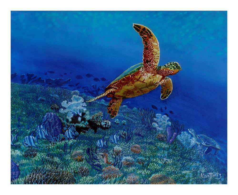 """Sea Turtle"" original fine art by Alan Mintz"