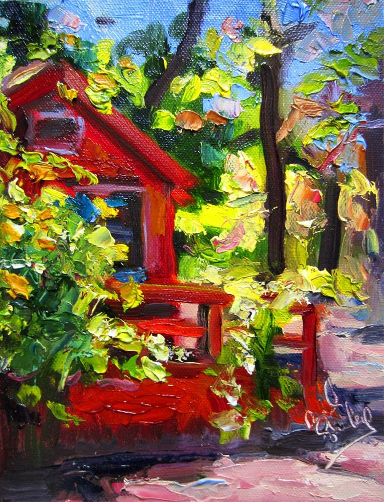 """Big Bear Cottage in the Woods"" original fine art by Carol Steinberg"