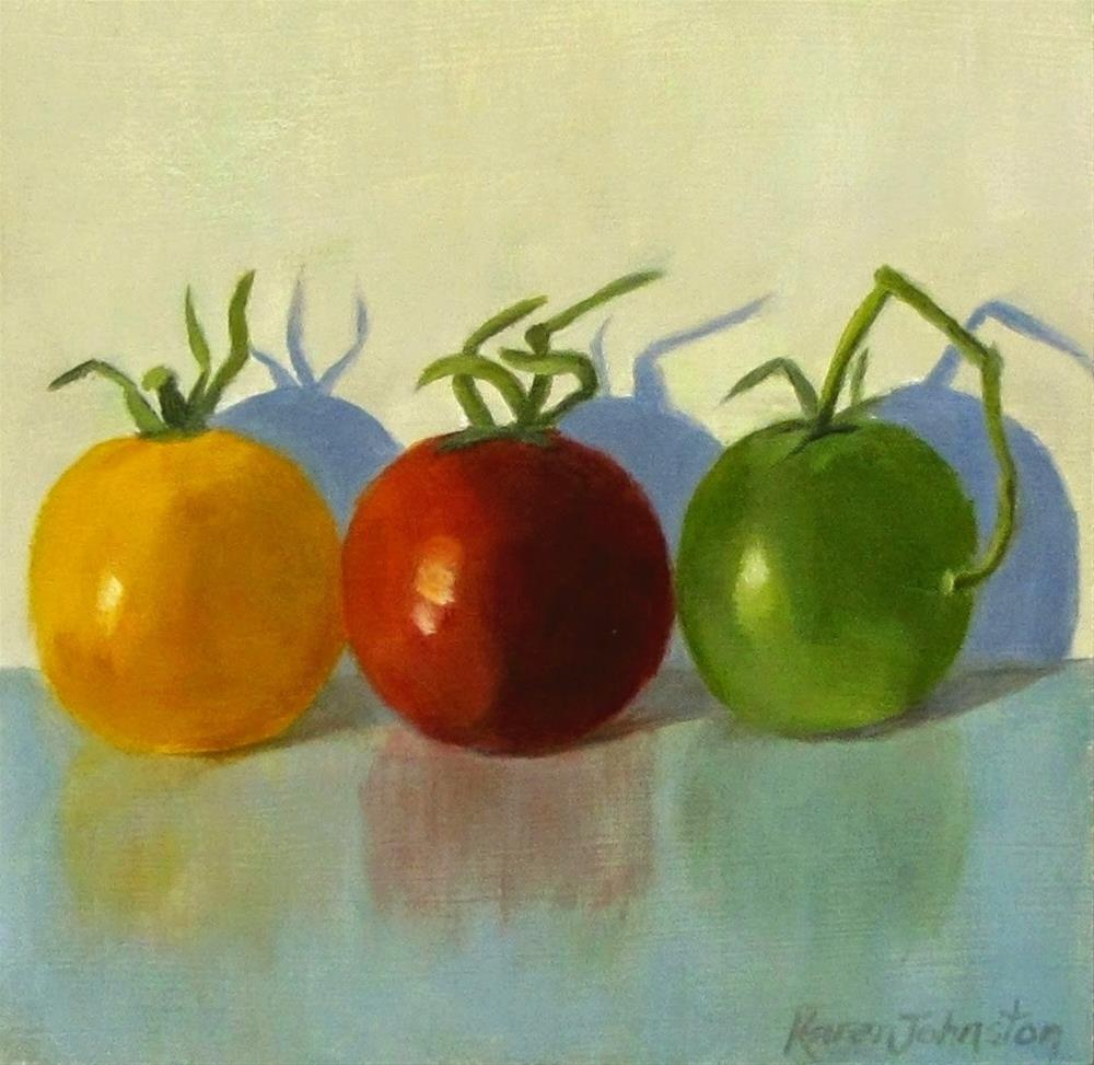 """Heirloom Cherry Tomatoes"" original fine art by Karen Johnston"
