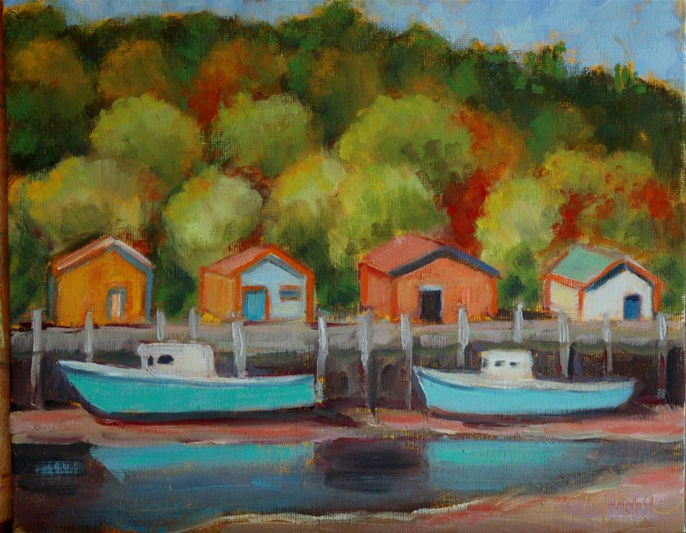 """Fishing Shacks"" original fine art by Carol Pighin"