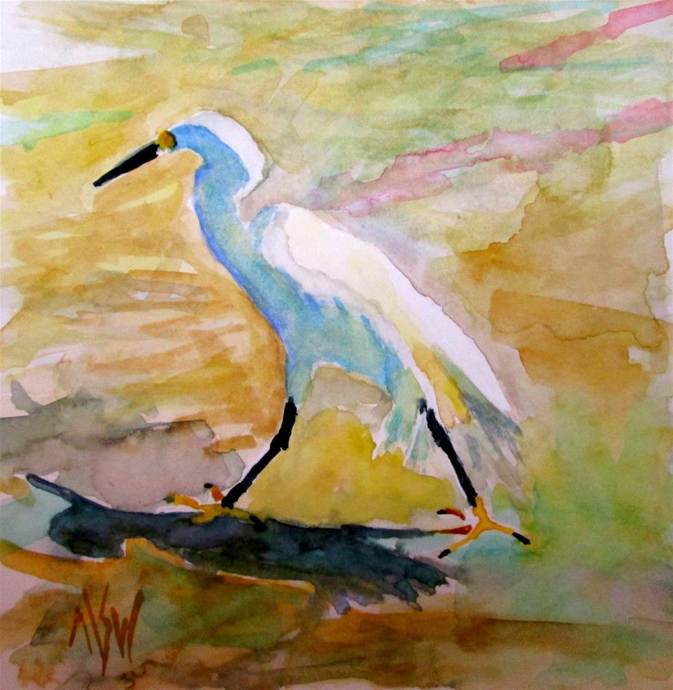"""Stepping Out 6x6 WC  this snowy egret caught my eye as he marched along the beach in Naples, FL"" original fine art by Mary Sheehan Winn"
