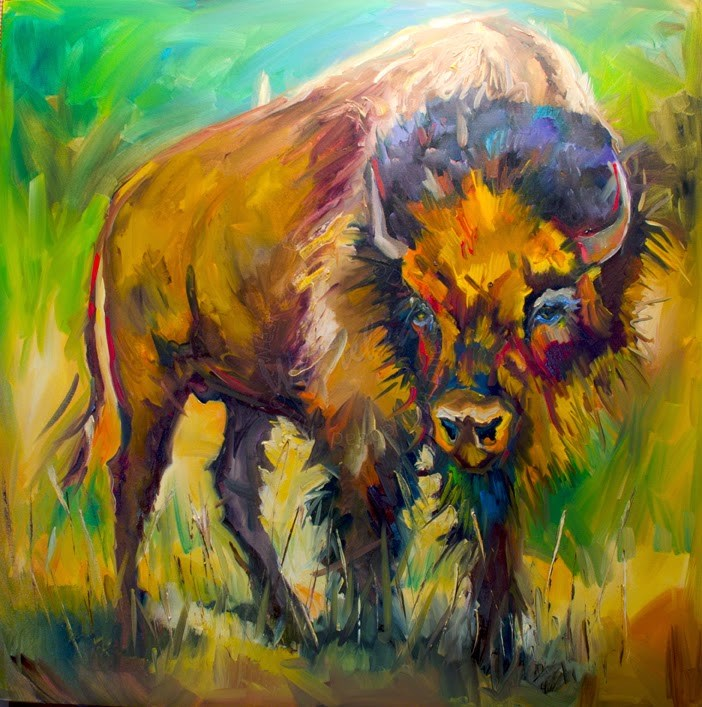 """ARTOUTWEST BISON LARGE OIL PAINTING BY DIANE WHITEHEAD FINE ART"" original fine art by Diane Whitehead"