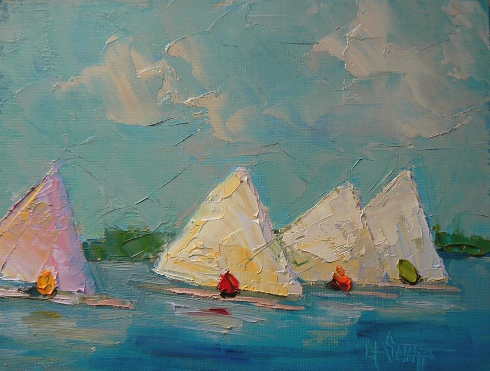 """Sailboat Painting, Palette Knife Daily Painting, Sailors Delight,  6x8"" original fine art by Carol Schiff"