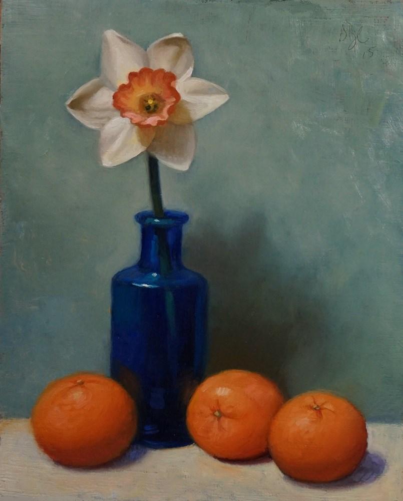 """Daffodil and Clementines"" original fine art by Debra Becks Cooper"